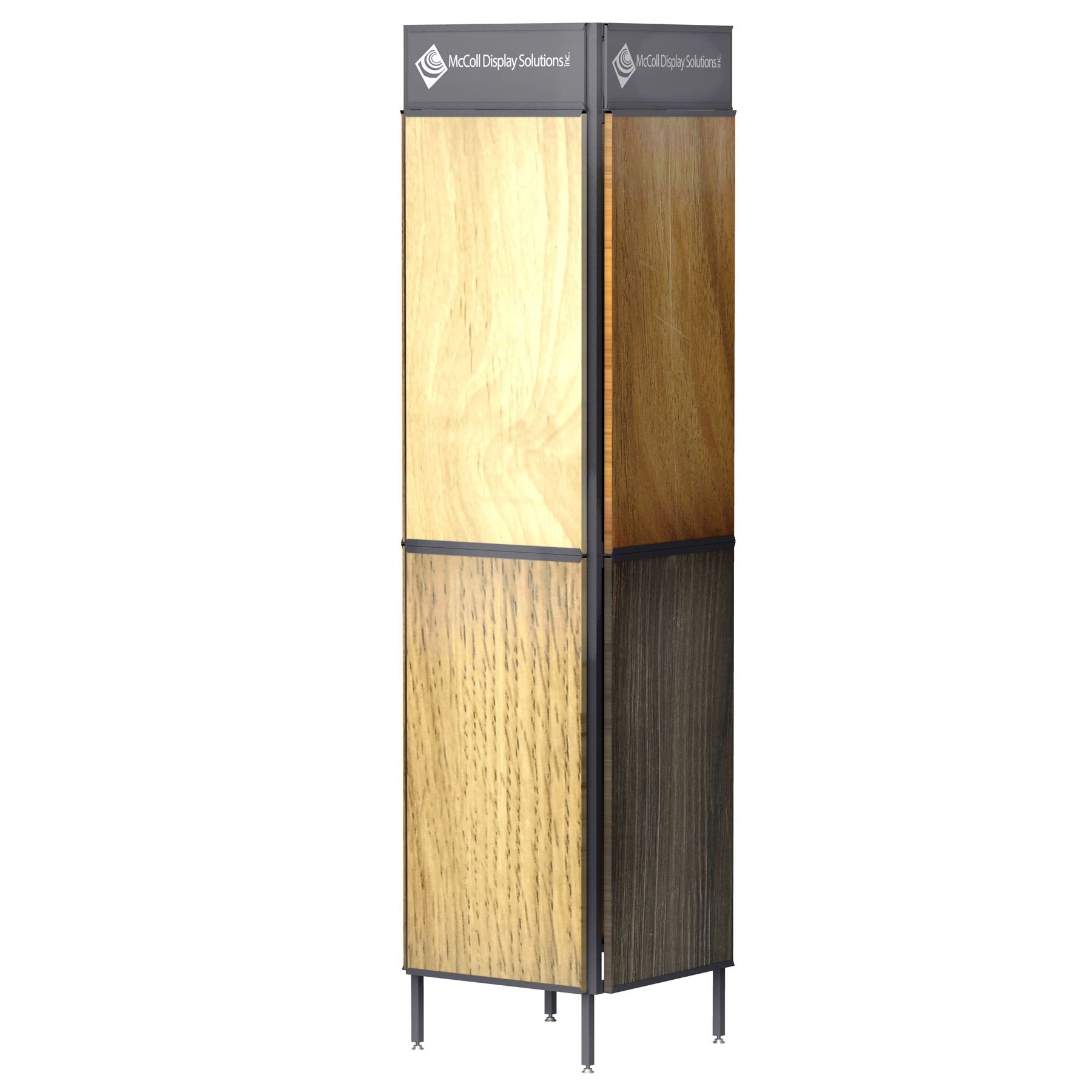 The Sturdy CD07 Steel Tower Channel System Holds Hardwood Bamboo Reclaimed Wood Laminate Plank Samples