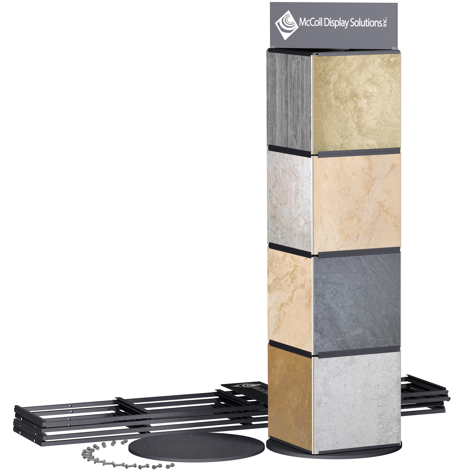 CD10K Portable Rotating Tower for Trade Show or Showroom Holds Sample Boards or Ceramic Tile Stone Marble Hardwood Samples