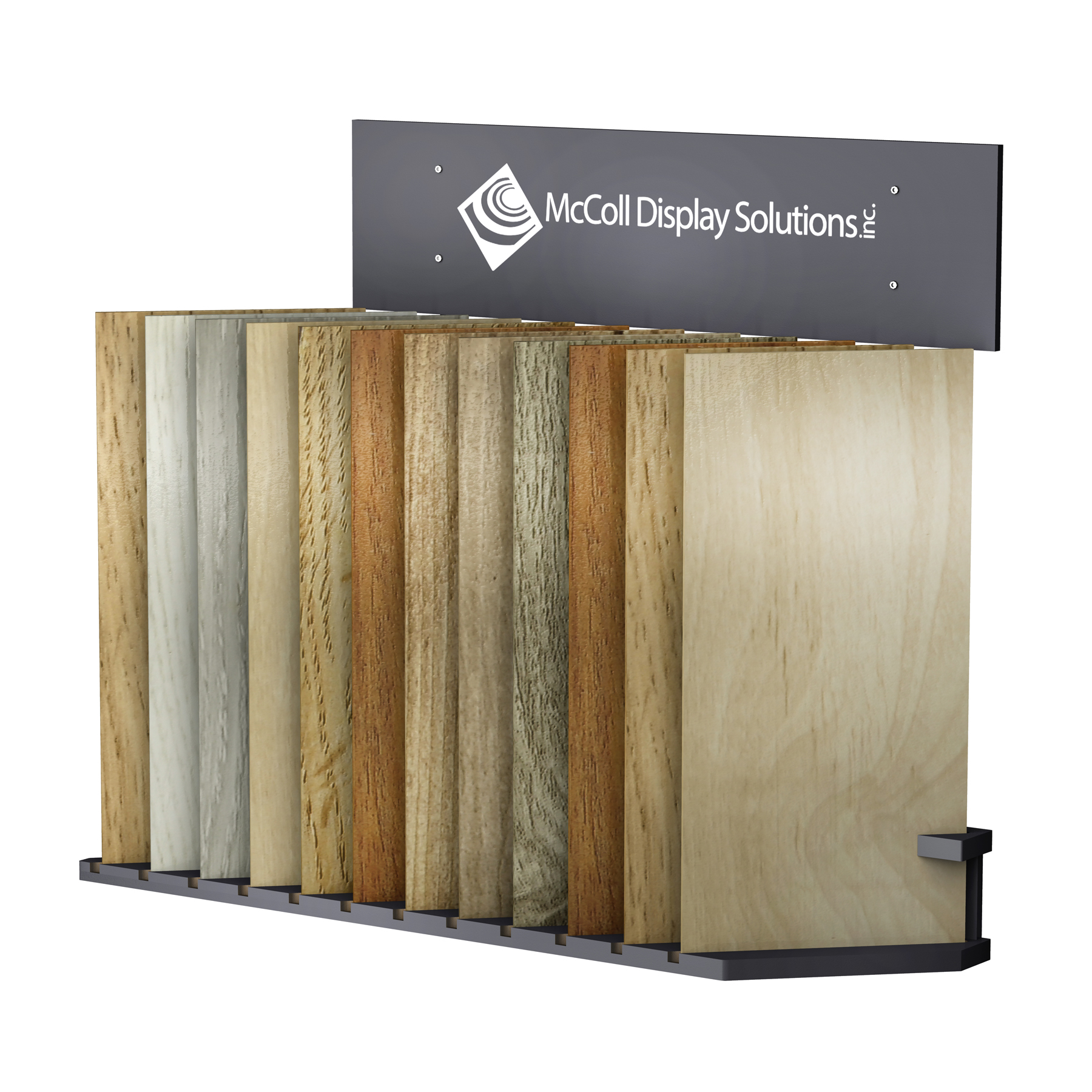 CD100 Slotted Floor Stand with Signage Displays Hardwood or Laminate Planks as well as Tile Marble Stone Flooring Samples