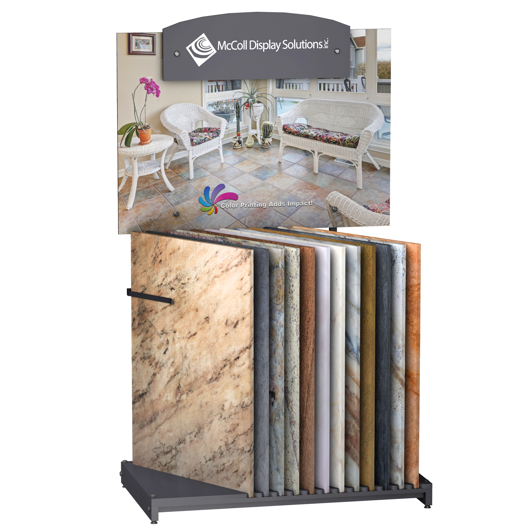 CD101 Slotted Floor Stand with Signage Displays Ceramic Tiles Marble Stone Quartz Travertine Flooring Samples