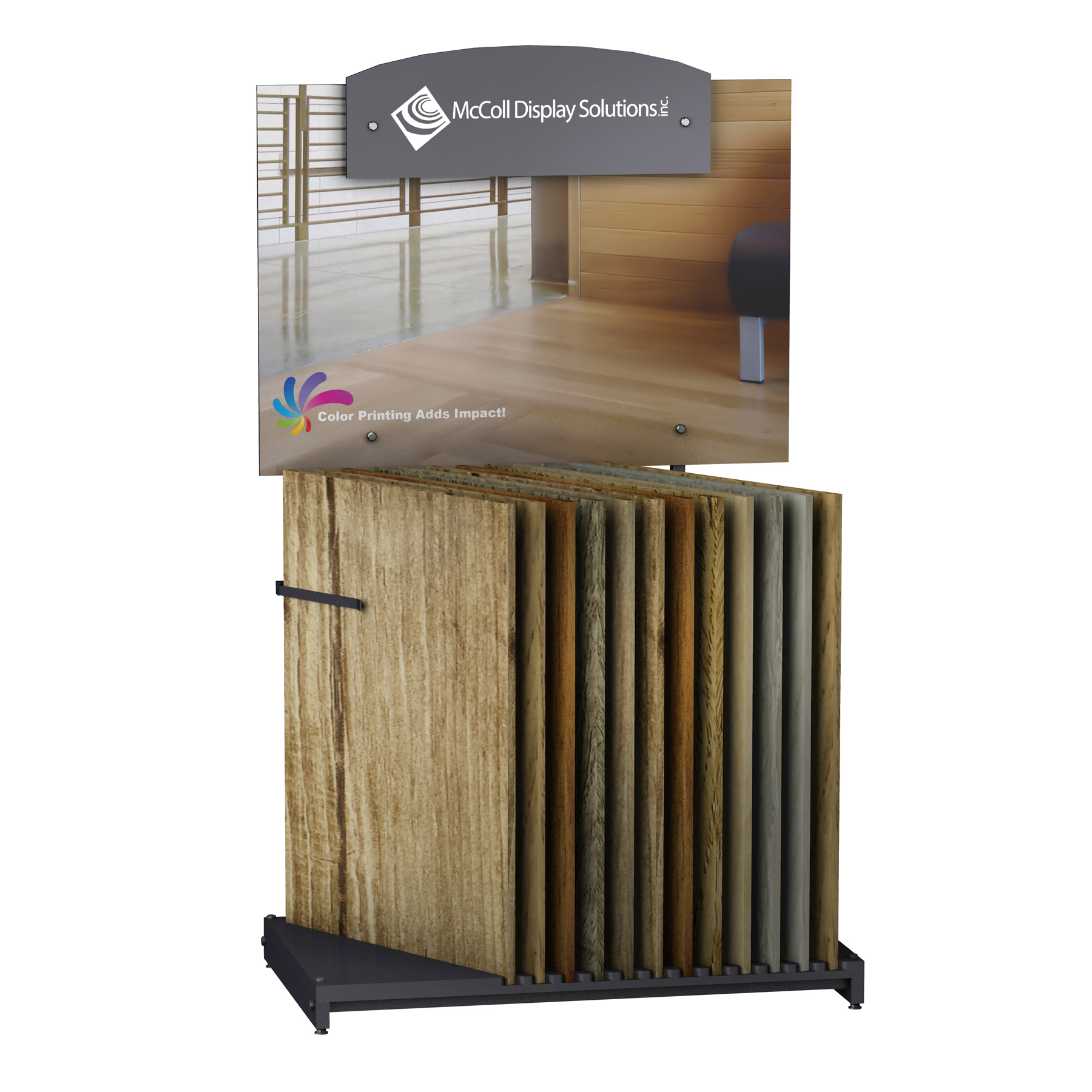 Hardwood Display CD101 Shows Wood and Laminate Planks easy to make Custom with or without Screen Printed or Full Color Signage