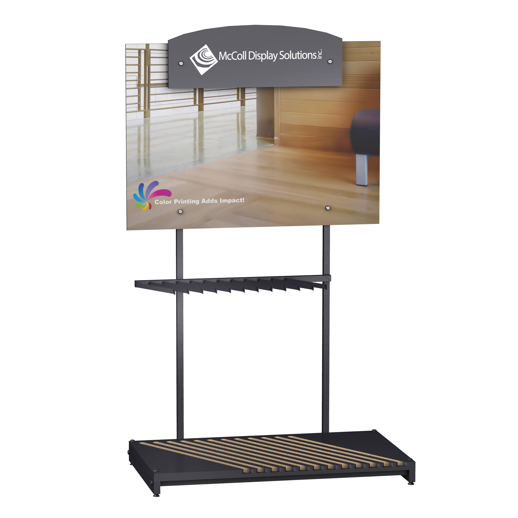 Hardwood Display CD101 Sturdy Frame Holds Wood and Laminate Planks Securely For Great Visibility with Option of Signage