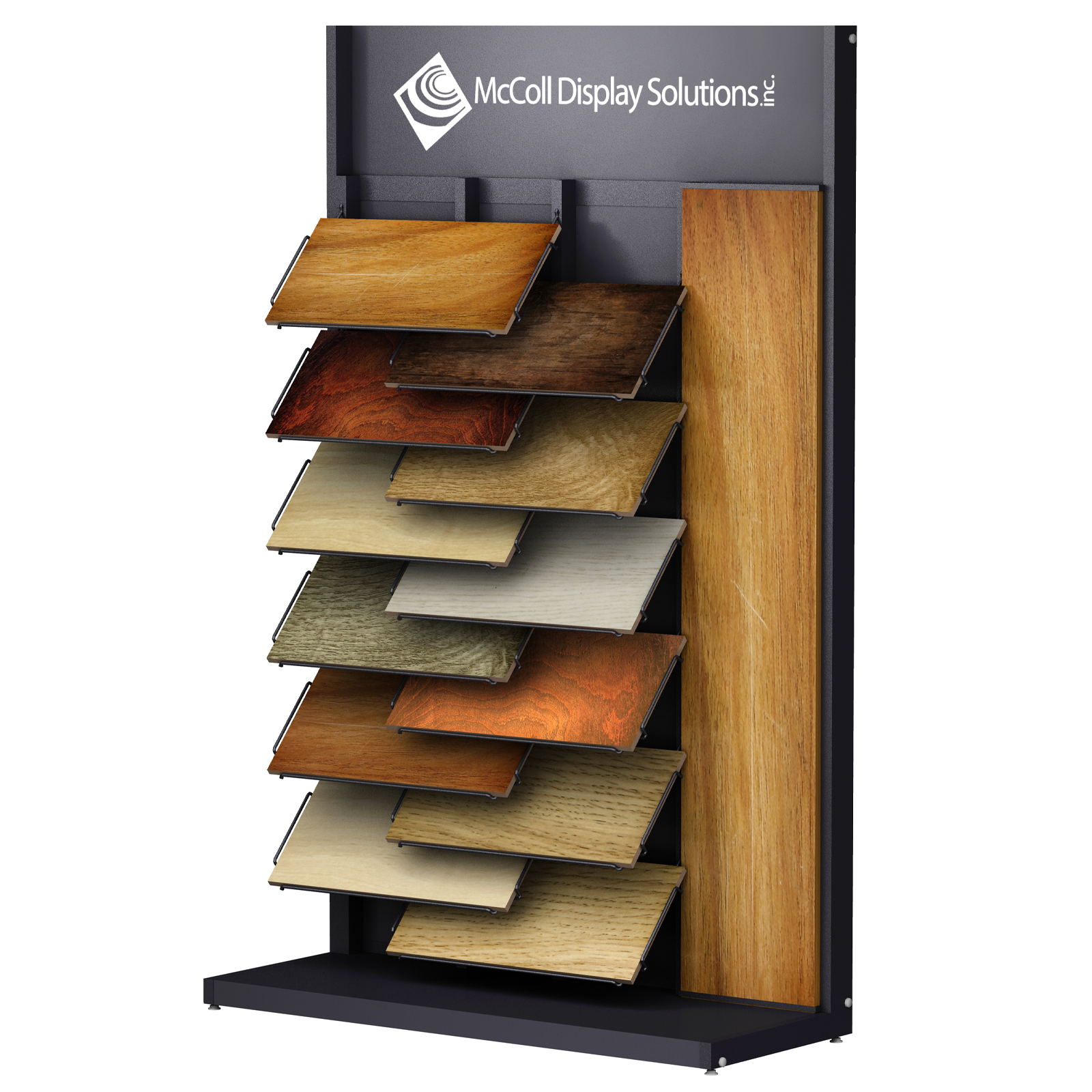 CD18 Tower Hardwood Laminate Wire Shelf System Showroom Display Large Plank in Channel System