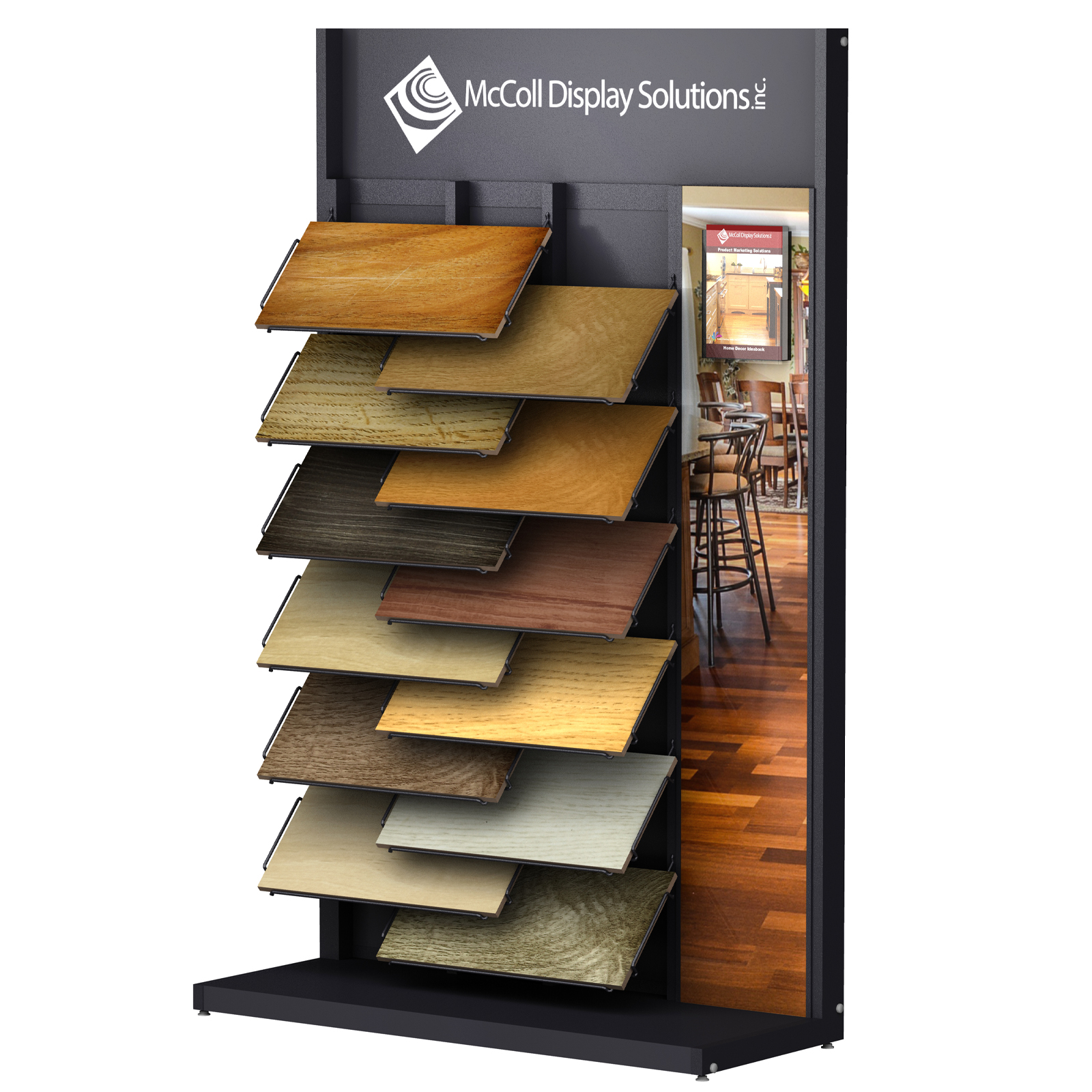 CD18 Tower Hardwood Laminate Plank Sample Wire Shelf System Showroom Display with Printed Room Scene and Literature Holder