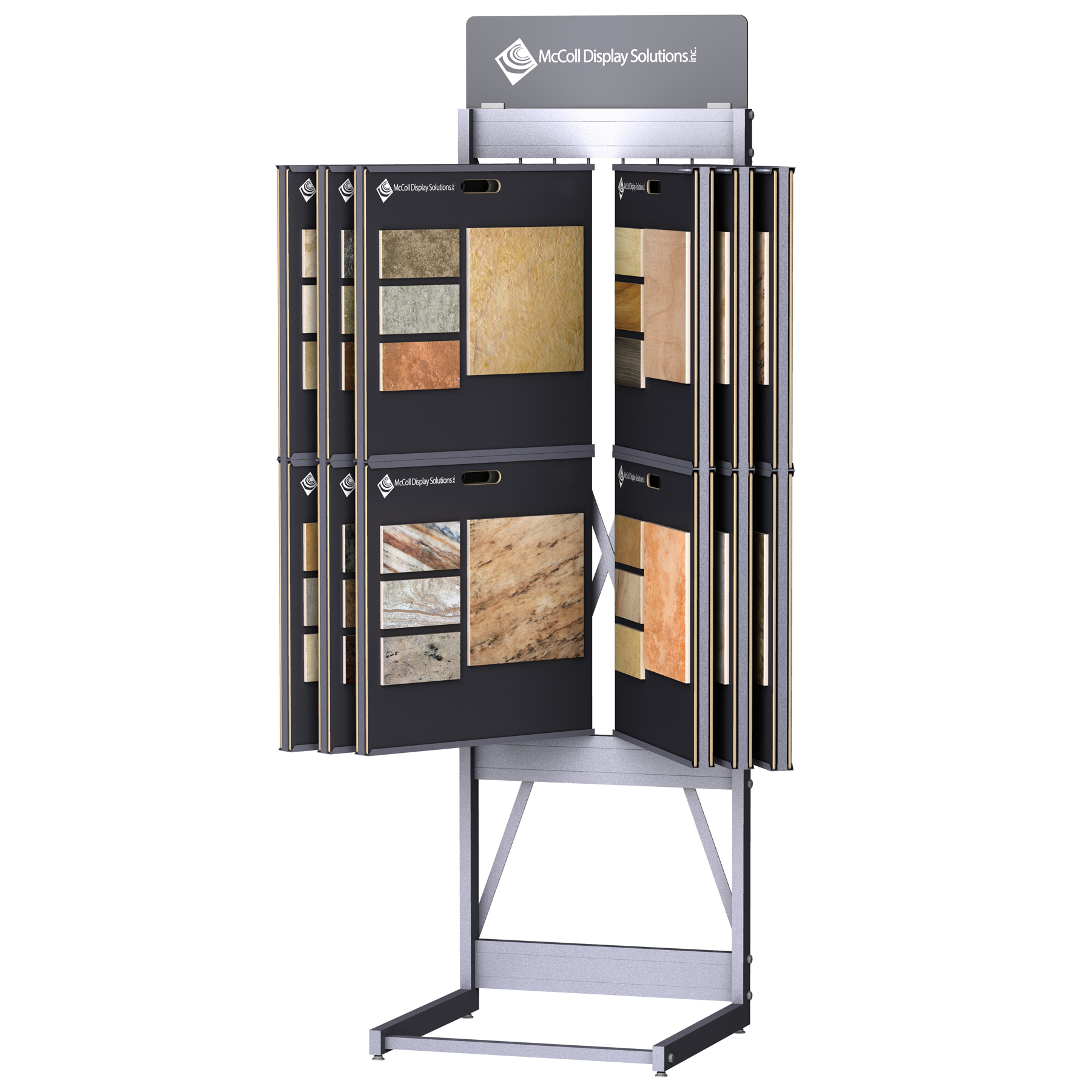 CD246 Wing Rack Tower Channel System for Sample Boards Square Steel Tube Construction