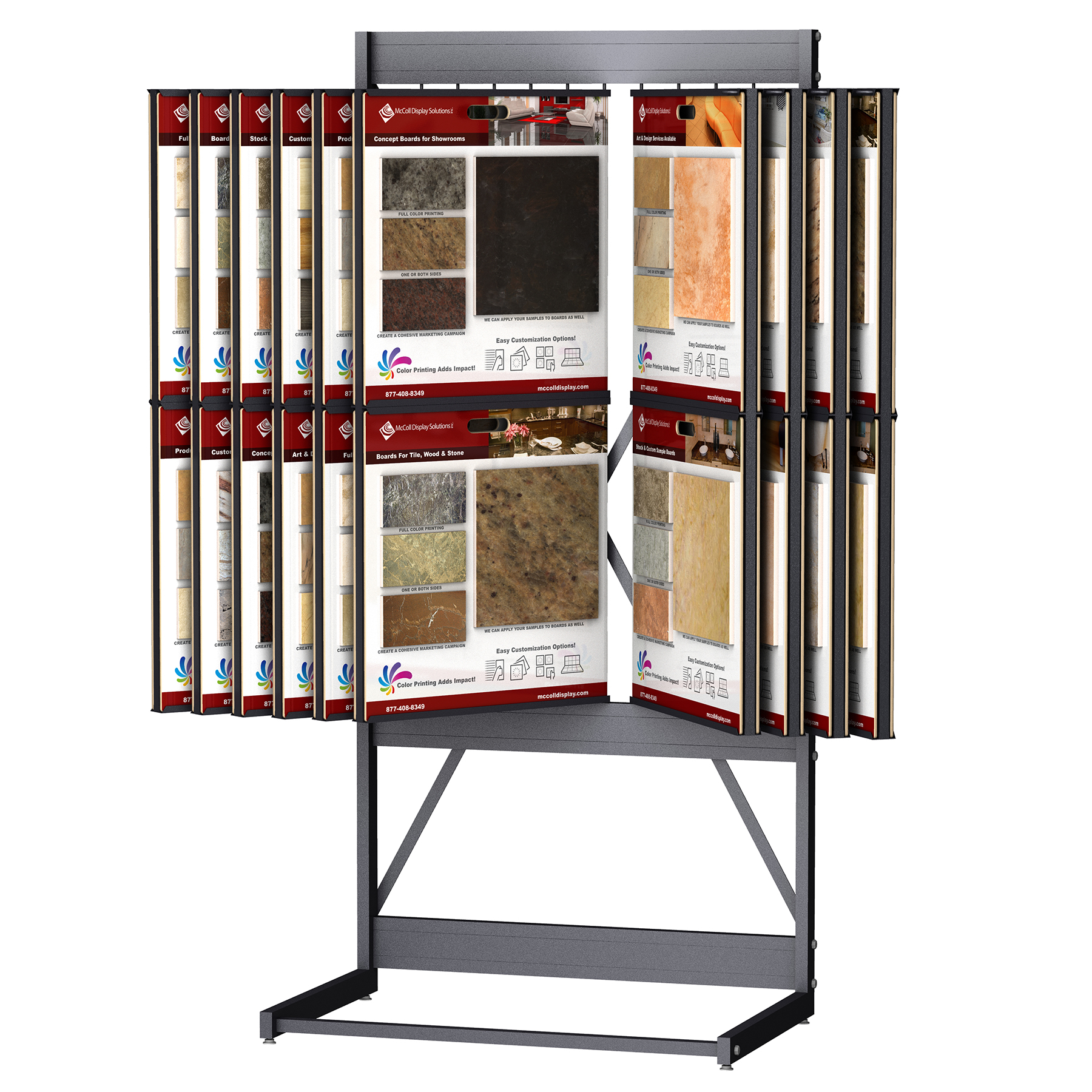 CD246 Wing Rack Tower Channel System for Sample Boards Display Tile Stone Marble Hardwood Showroom Fixture