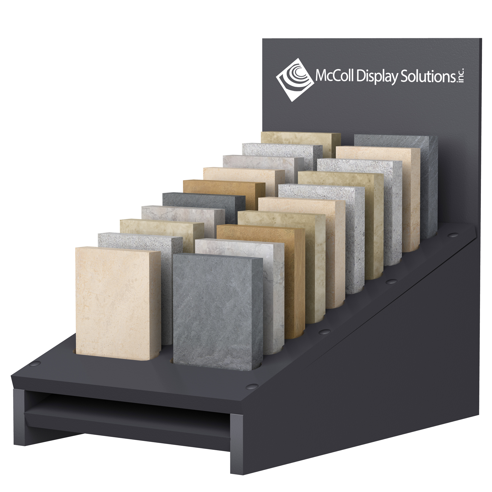 CD33 Countertop Slotted Cascade Box has Sample Slots for Tile Stone Marble Hardwood Samples
