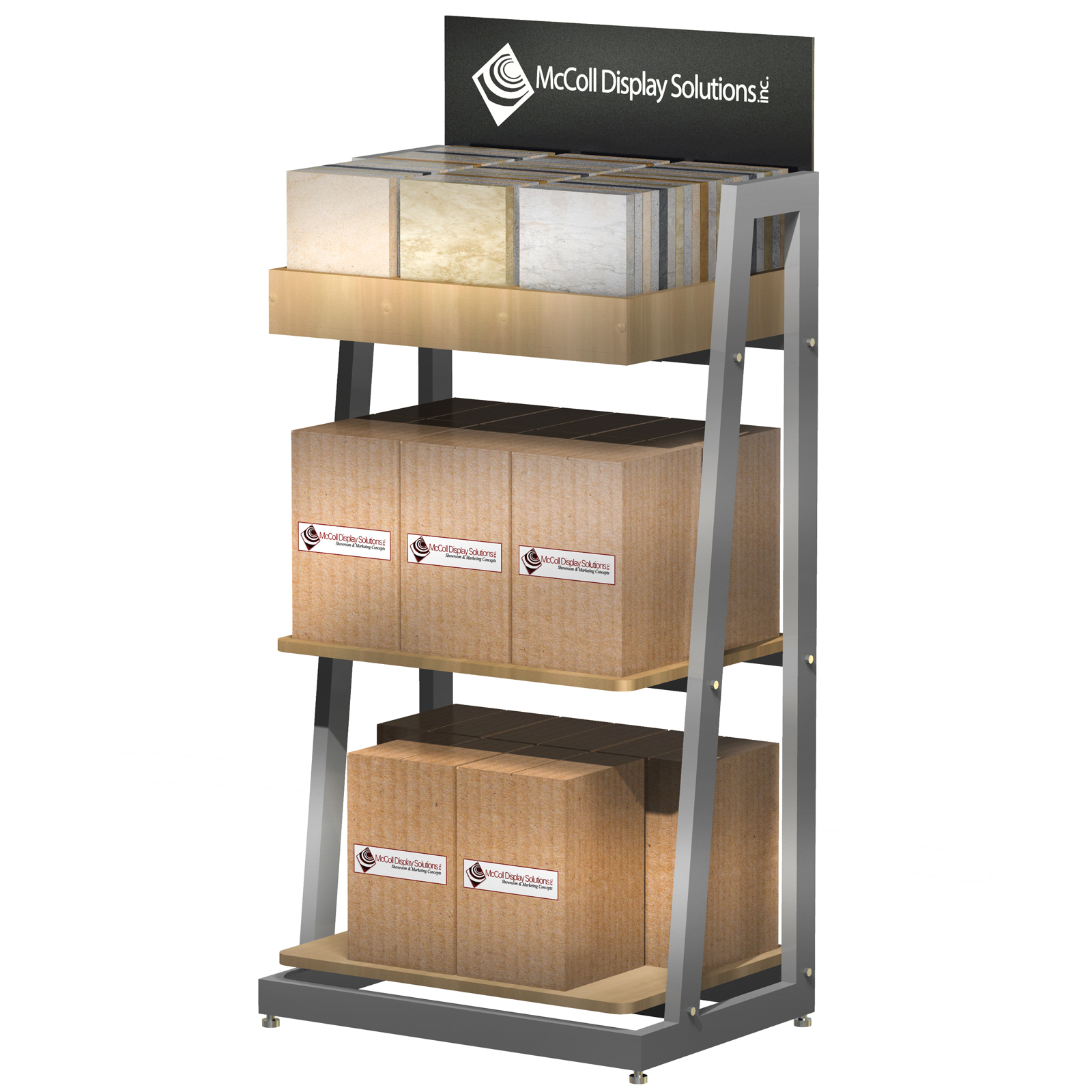CD88 Easy Customize Point of Purchase Retail Store Fixture Shelf System Tower Aisle End Cap Flooring Samples or Accessory with Screen Printed Sign Made in USA