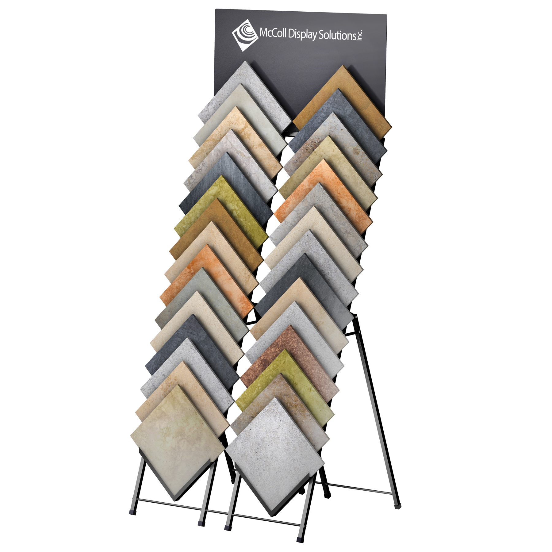 D30 Easel A-Frame Tower Optional Screen Printed Signage Double Front Load Ceramic Tile Stone Marble Channel System Showroom Display