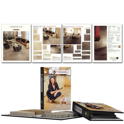 Full Service Printing for Architectural Binders, Brochures, Signage, Literature Sheets and other Marketing Material for your Tile, Stone and Wood Flooring Showroom needs